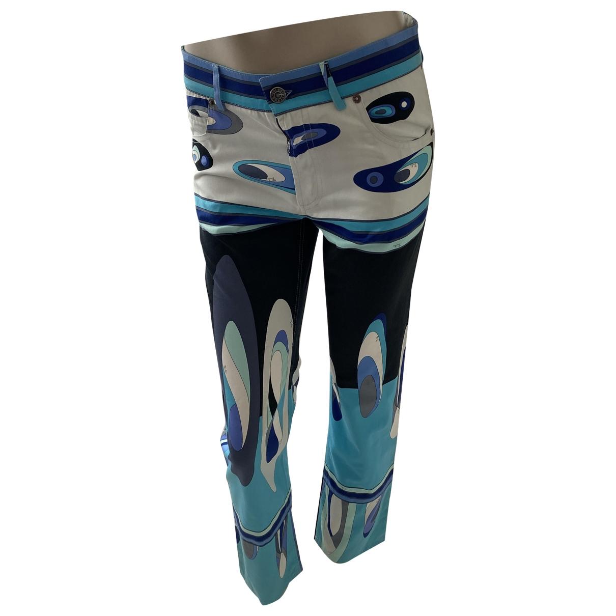Emilio Pucci \N Blue Cotton Trousers for Women 40 IT