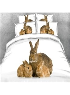 Likable Rabbit Mother and Bunnies Print 5-Piece Comforter Sets