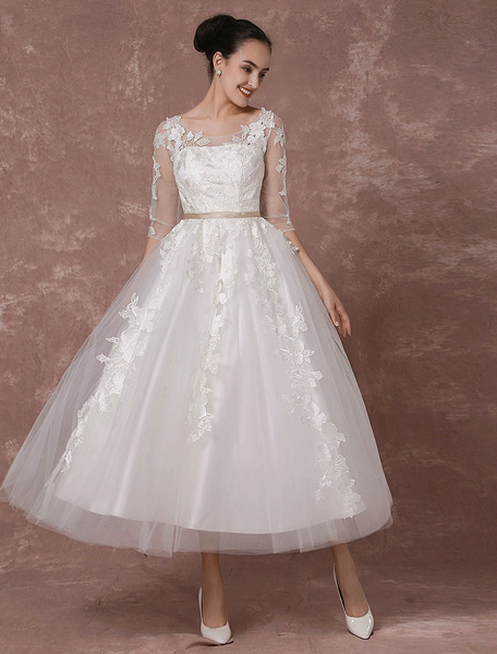 Milanoo Summer Wedding Dresses 2020 Vintage Short Bridal Gown Tulle Lace Applique Half Sleeves Tea-length A-line Reception Bridal Dress
