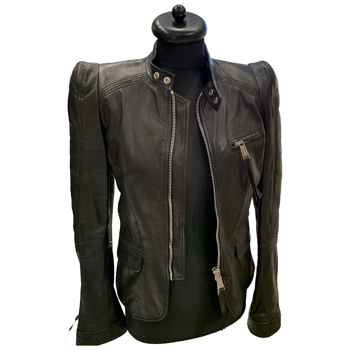 Dsquared2 \N Black Leather Leather jacket for Women 44 IT