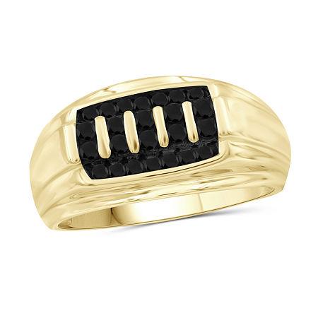 Mens 1/2 CT. T.W. Genuine Black Diamond 14K Gold Over Silver Ring, 11 , No Color Family