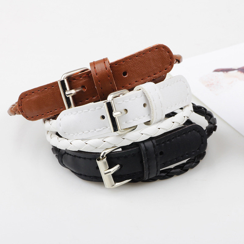 Bohemian Double Layer Leather Bracelet For Women With Button Fashion Bracelet