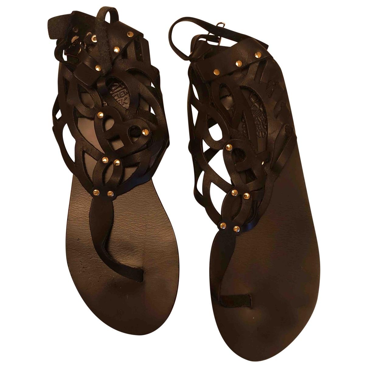 Ancient Greek Sandals \N Black Leather Sandals for Women 41 IT