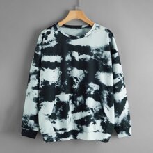 Kangaroo Pocket Drop Shoulder Tie Dye Sweatshirt