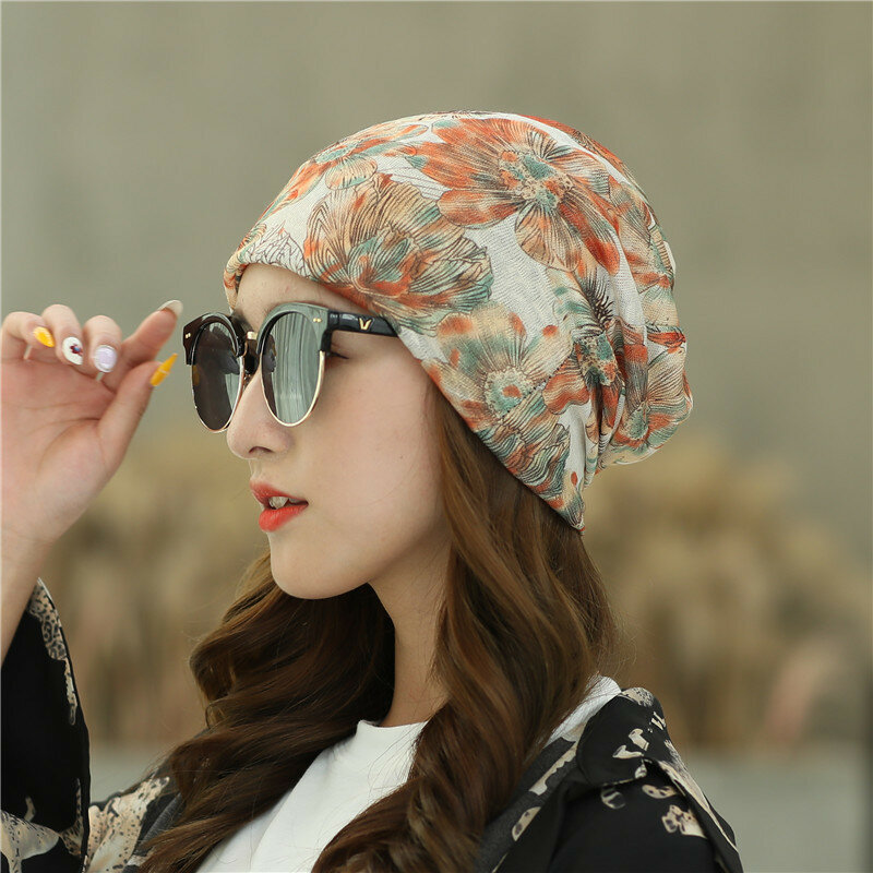 Country Style Grid Beanie Floral Caps
