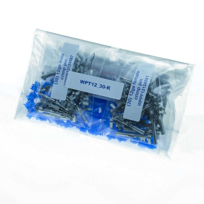 Weather Pack 12 Gauge Terminal Pack 30 Terminal Sets 60 Blue Seals DIYAutoTune WPT12_30-K