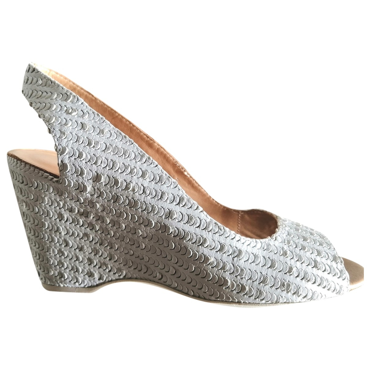 Mm6 \N White Leather Sandals for Women 37 EU
