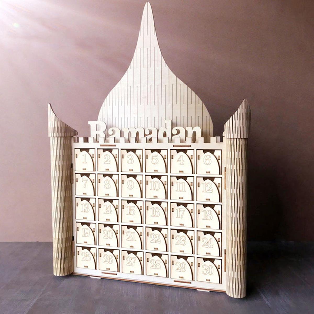 MDF Wooden Ramadan Advent Calendar DIY House Drawer Stand Rack Decorations