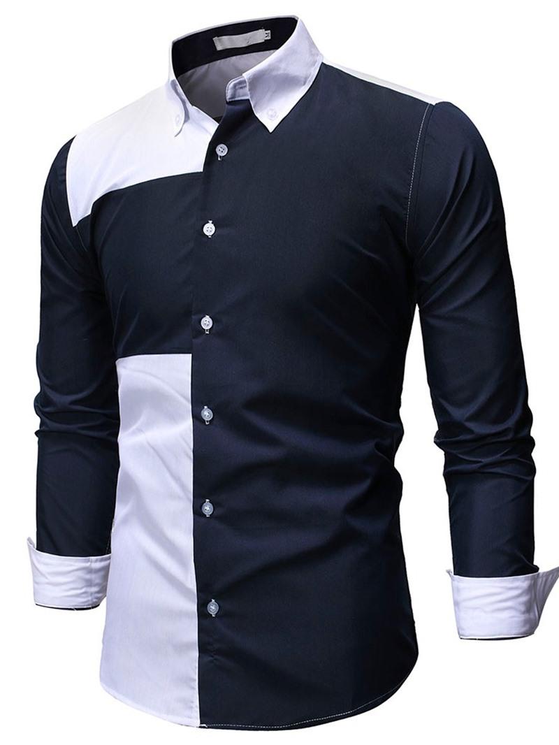 Ericdress Color Block Patchwork Lapel Fall Slim Shirt