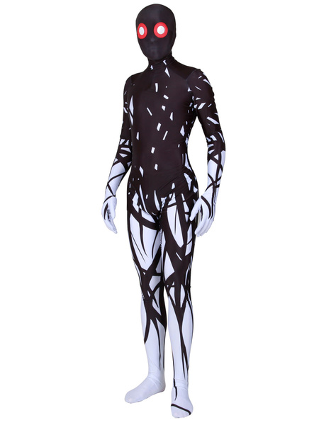 Milanoo Black Monster Print Zentai Suit Full Body Lycra Spandex Bodysuit