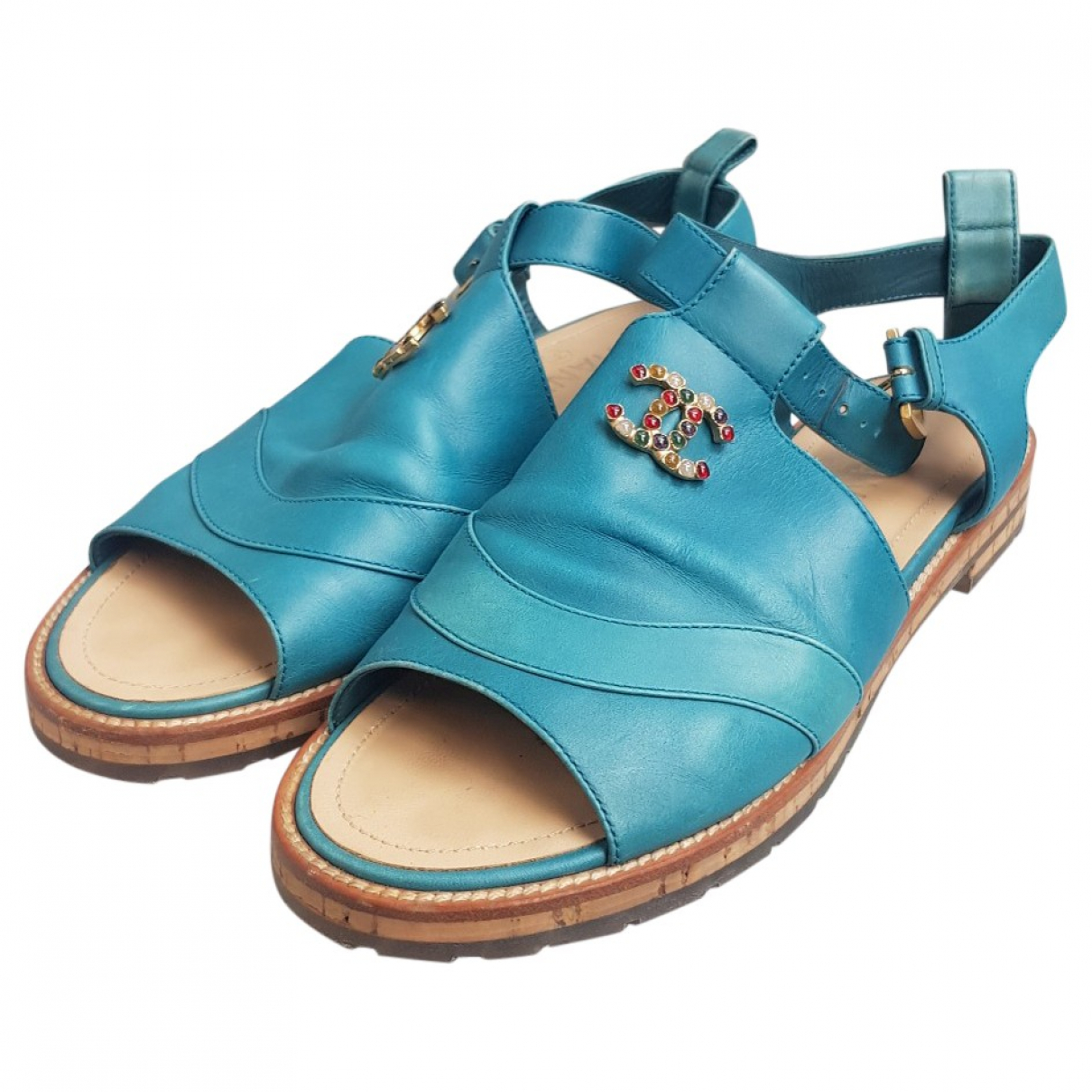 Chanel \N Turquoise Leather Sandals for Women 40 EU