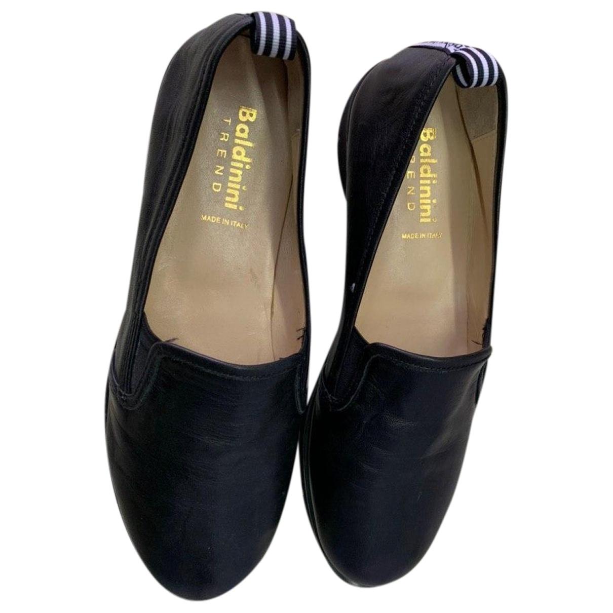 Baldinini \N Black Leather Flats for Women 37.5 EU