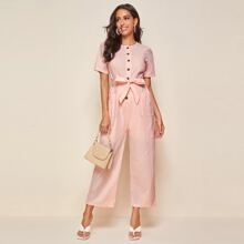 Button Front Dual Pockets Belted Culotte Jumpsuit