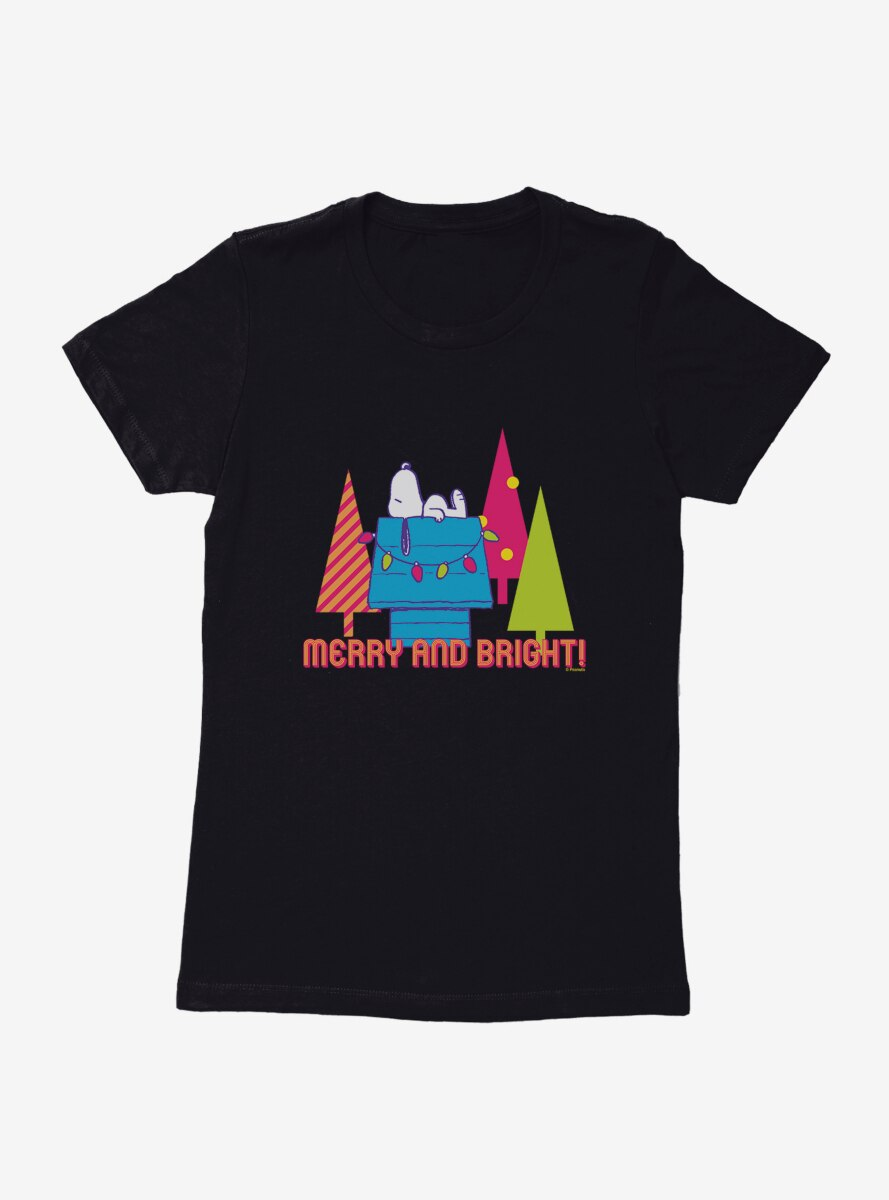 Peanuts Retro Pop Merry And Bright Womens T-Shirt