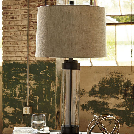 Signature Design by Ashley Glass Table Lamp, One Size , Brown