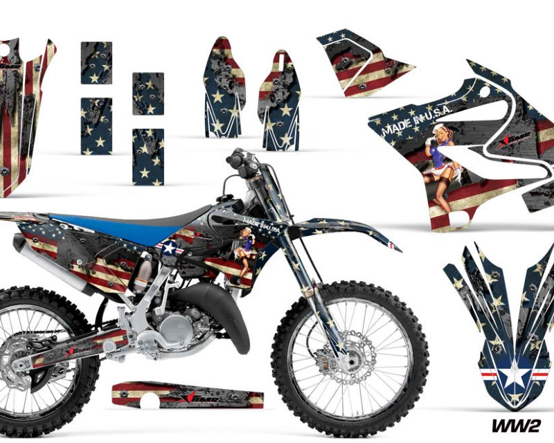 AMR Racing Graphics MX-NP-YAM-YZ125-YZ250-15-18-WW2 Kit Decal Sticker Wrap + # Plates For Yamaha YZ125 YZ250 2015-2018áWW2 BOMBER