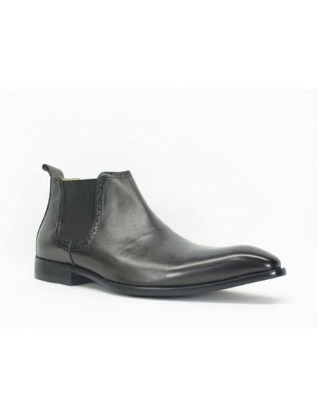 Men's Carrucci Burnished Calfskin Slip-On Low-Top Chelsea Boots Black