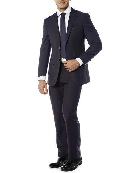 Mens Single Breasted Notch Label Slim Fit Suit Navy