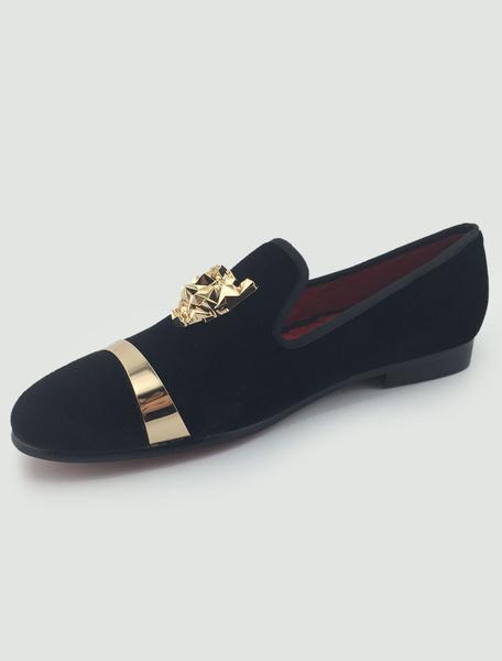 Milanoo Black Mens Loafers Dress Shoes Flannel Metal details Slip on Prom Shoes