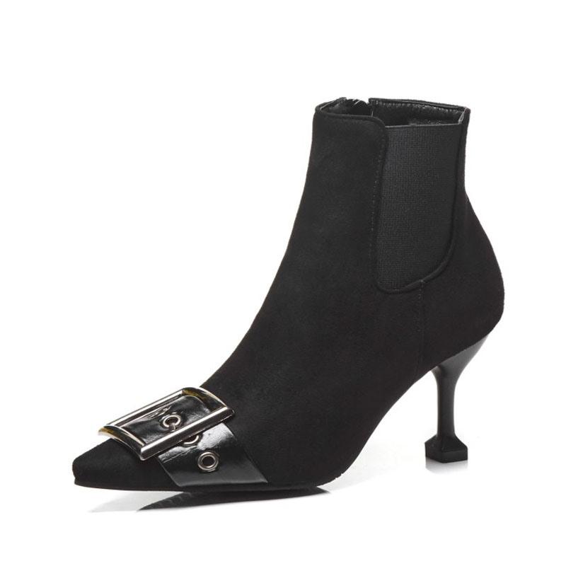 Ericdress PU Side Zipper Pointed Toe Kitten Heel Women's Ankle Boots