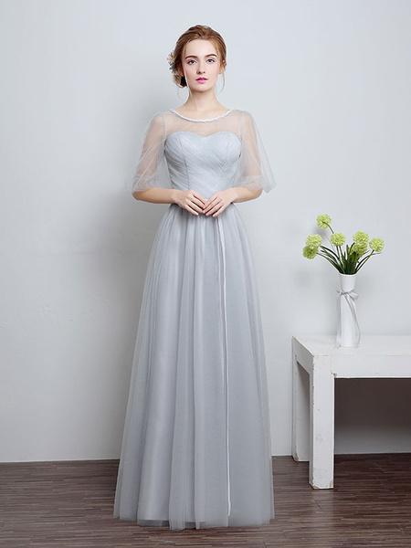 Milanoo Prom Dresses Long Cameo Pink Bridesmaid Dress Tulle Ribbon Sash Floor Length Formal Party Dress