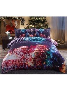 Vivilinen Christmas Trees and Fireworks Printed Cotton 4-Piece 3D Bedding Sets/Duvet Covers