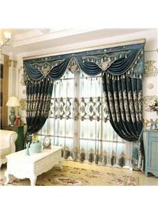 Luxury and Elegant Navy Blue Voile Polyester Sheer Curtain for Living Room and Bedroom Decorative Custom No Pilling No Fading No off-lining Net Curtai