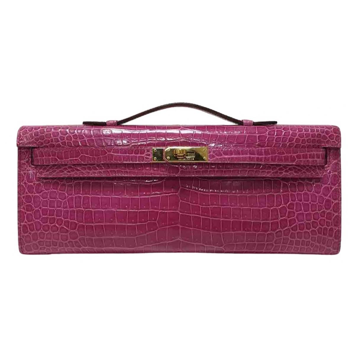 Hermès Kelly Cut Clutch Pink Crocodile Clutch bag for Women \N