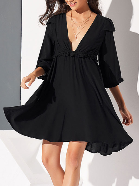 Milanoo Skater Dresses V Neck Ruffles Backless Sexy Flared Flared Dress