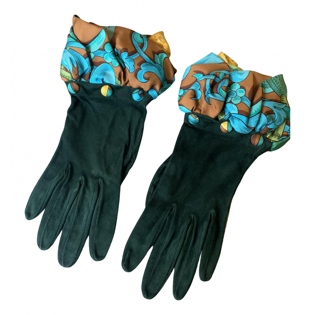 Hermès \N Green Suede Gloves for Women 6.5 Inches