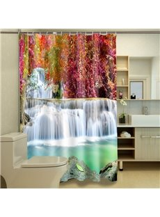 Wonderful Red Autumnal Leaves and Waterfall 3D Shower Curtain