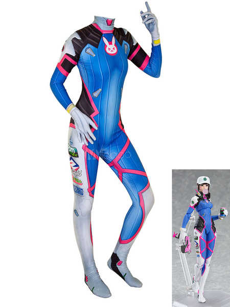 Milanoo Overwatch Cosplay Costumes D VA Blue Lycra Spandex Jumpsuit Game Leotard Game Cosplay Costumes