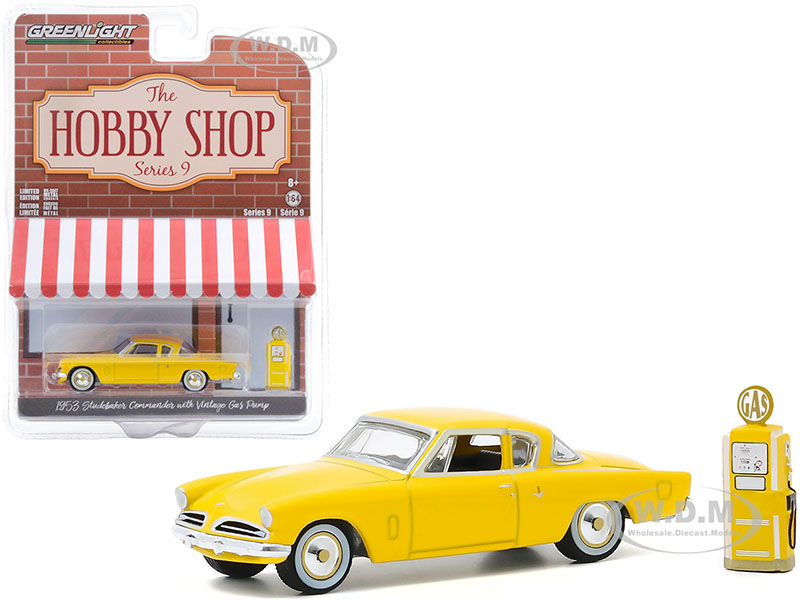 1953 Studebaker Commander Yellow with Vintage Gas Pump