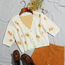 Button Front Scallop Trim Floral Cardigan