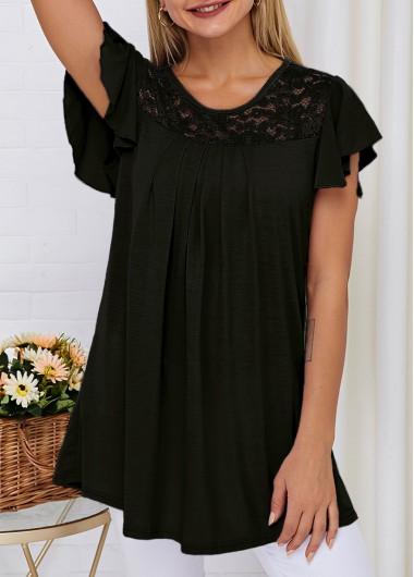 Round Neck Short Sleeve Lace Panel T Shirt - S
