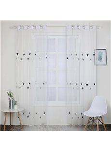 Modern Style White Semi-sheer Star Decorative Curtains 2 Panels For Living Room