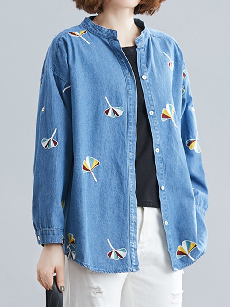 Embroidered Denim Long Sleeve Casual Blouse For Women