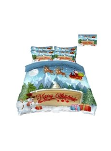 Reindeer Pull Santa's Sleigh and Snowman Printing 4-Piece 3D Bedding Sets/Duvet Covers