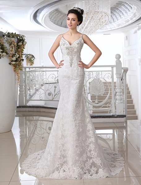 Milanoo Ivory Wedding Dresses Mermaid Strapless V Neck Rhinestone Sweep Bridal Bridal Gown