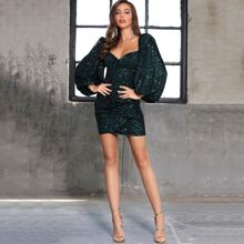 DKRX Sweetheart Bishop Sleeve Draped Sequin Dress