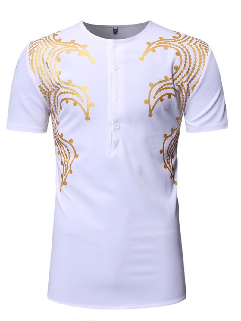 Ericdress African Fashion Dashiki Round Neck Straight Mens Short Sleeve T-shirt
