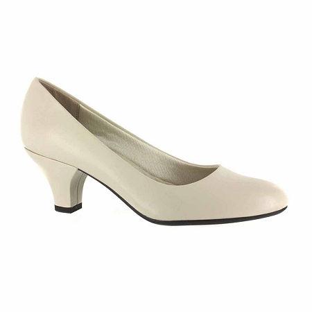Easy Street Womens Fabulous Pumps Cone Heel, 8 1/2 Medium, White