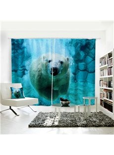 Polar Bear Pattern 3D Painted Polyester Curtain