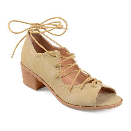 Journee Collection Womens Bowee Pumps Block Heel, 6 1/2 Medium, Brown