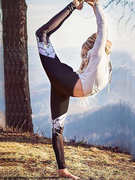 Yoins Black Random Printed Gym Leggings