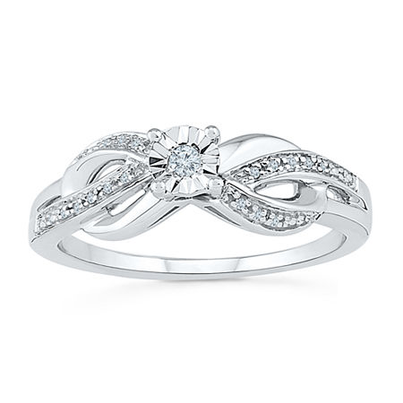 Promise My Love Womens Diamond Accent Genuine White Diamond Sterling Silver Round Promise Ring, 6 , No Color Family