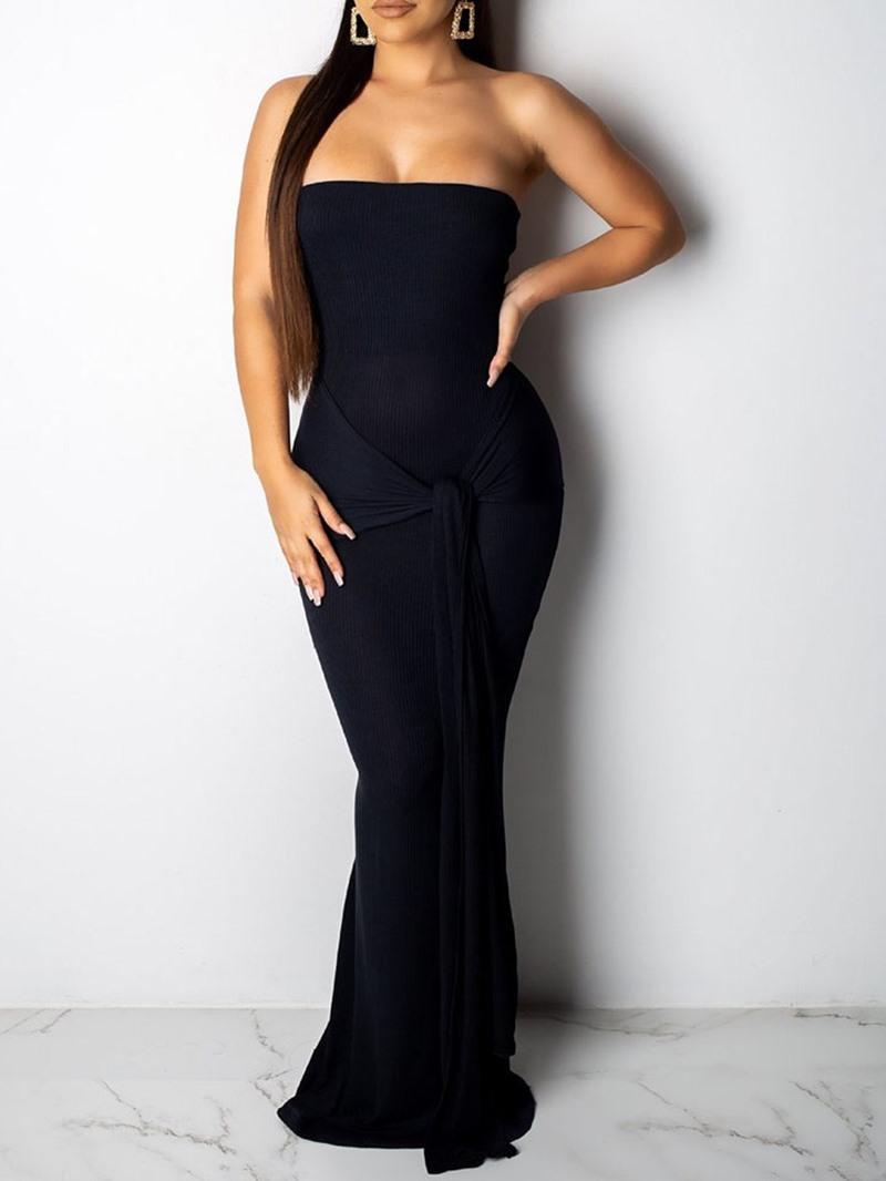 Ericdress Lace-Up Sleeveless Floor-Length Plain Summer Dress