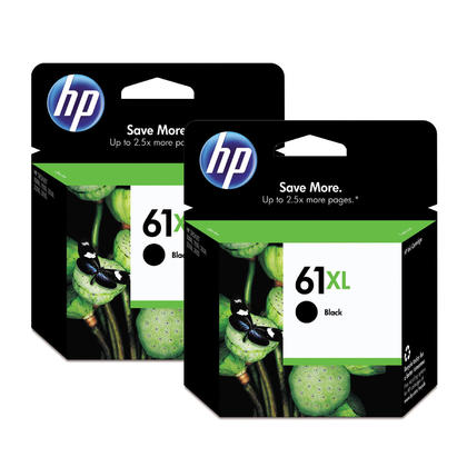 HP 61XL CH563WN Original Black Ink Cartridge High Yield Dual Pack - 2/Pack