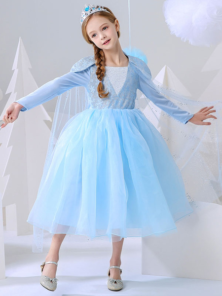 Milanoo Flower Girl Dresses Frozen Elsa Square Neck Long Sleeves Buttons Kids Party Dresses