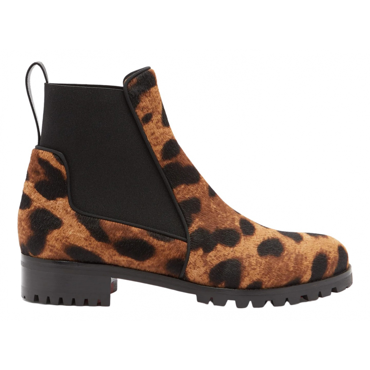 Christian Louboutin \N Brown Pony-style calfskin Ankle boots for Women 39 EU